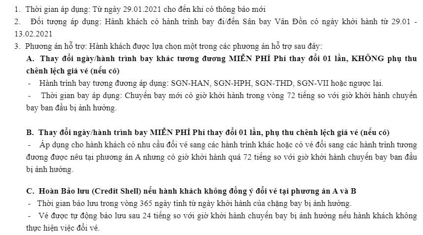 thông tin mới cho chuyến bay đến Vân Đồn